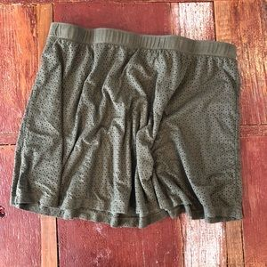 Candie's   Laser Cut Olive Green Suede Skirt